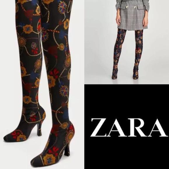 240c2826c93 Zara Women s Thigh High Heel Boots Printed Fabric